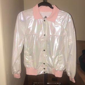 Iridescent white and pink windbreaker